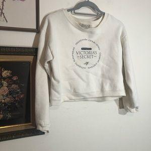 Vtg Victorias Secret Cotton Logo Crop Sweatshirt